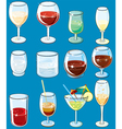 icons with alcohol beverages and drinks vector image vector image