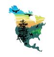 American wildlife map vector image vector image