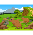funny capybara cartoon in the jungle vector image