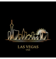 Gold silhouette of Las Vegas on black background vector image vector image