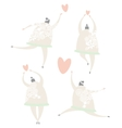 Beautiful girls in love dance with the heart vector image