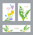 cute invitation cards with fine collection spring vector image