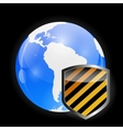 Globe Icon with Protection Shield vector image
