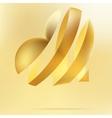 Golden heart on a beidge background EPS8 vector image