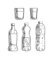 Soda glasses and mineral water bottles sketch vector image