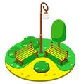 isometric Park yellow benches lantern vector image