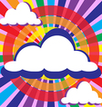 Clouds and rays solar circles vector image