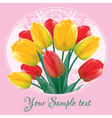 Greeting card with a bouquet of tulips vector image
