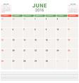 Calendar Planner 2016 Flat Design Template June vector image