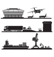 Black and White Set of Industrial Transport Icons vector image