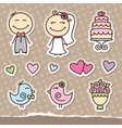 wedding stickers vector image