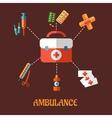 Ambulance icons flat concept vector image