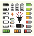 Battery pack icons in pixel art style vector image