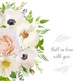 floral design card garden pink peach rose anemone vector image