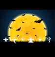 halloween white ghost moon bat graveyard vector image