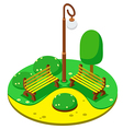 isometric Park yellow benches lantern vector image