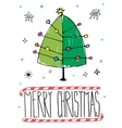 Post card with hand drawn Christmas tree vector image