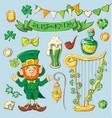 set of leprechaun characters poses eps10 vector image
