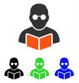 student reading book flat icon vector image