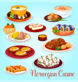 norwegian cuisine dishes for lunch menu icon vector image
