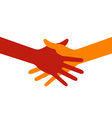 Colorful icon hand shake for business and finance vector image