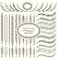Hand drawn floral design elements set vector image