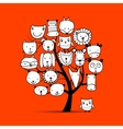 Art tree with animal faces sketch for your design vector image