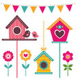 bird houses set vector image