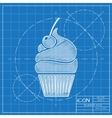 cupcake with cherry icon Eps10 vector image