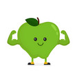cute happy strong smiling apple vector image