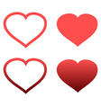 Different abstract red heart icons set vector image