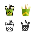 Noodles in a box colored icon set vector image