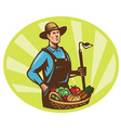 farmer harvest icon vector image vector image