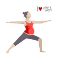 Pregnant woman doing Yoga Warrior Pose vector image