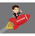 businessman flying on the rocket vector image