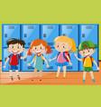 four children in locker room vector image