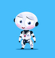 small robot shy with flashed cheeks isolated on vector image