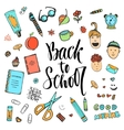 Hand drawn school stationery icon set vector image