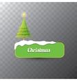 Christmas green button with christmas tree vector image