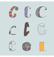 set of colorful alphabet letters C vector image