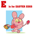 Easter bunny cartoon with letter vector image
