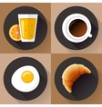 Breakfast icon set Juice glass coffee egg and vector image