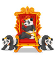 Three pandas at the throne vector image vector image