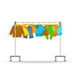 baby clothes on hanger rack flat vector image