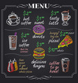 cafe menu design on chalkboard vector image