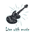 grunge label with guitar vector image