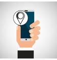 hand phone pin map app media vector image