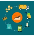 Icons of e-commerce symbols and internet shopping vector image