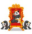 Three pandas at the throne vector image