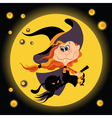 witch halloween girl and black cat vector image
